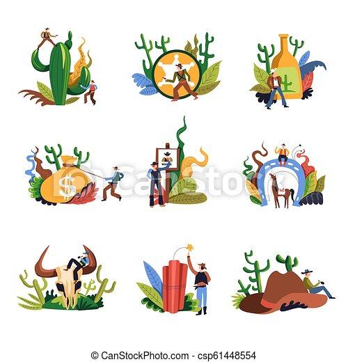 21b37d09b54 Cowboy western person with gun shooting set vector. cactus plant ...