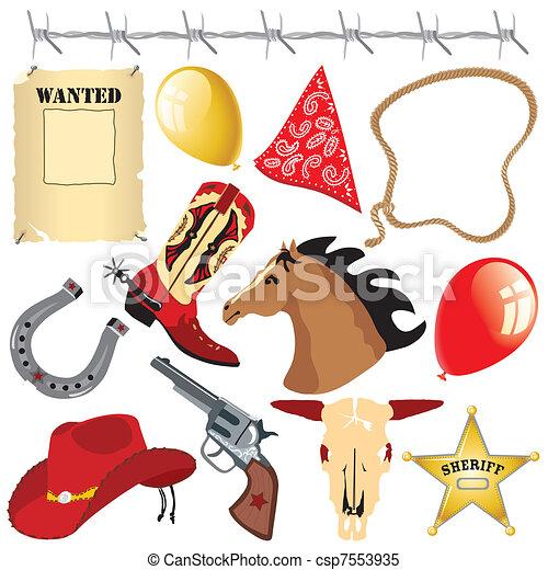 Cowboy Wild West Birthday Clipart - csp7553935