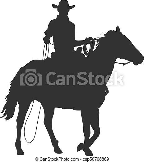 08883aea493fe cowboy with lasso riding a horse - csp50768869