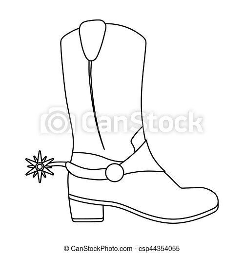 Cowboy\u0027s boots icon in outline style isolated on white background. USA  country symbol stock bitmap, rastr illustration.