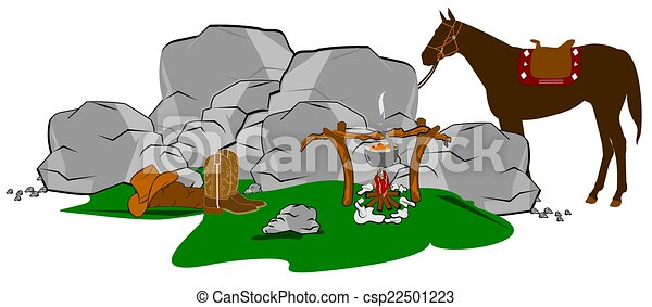 cowboys campfire camping in the old west clip art search rh canstockphoto com Cowboy Campfire Painting Cowboys at Campfire