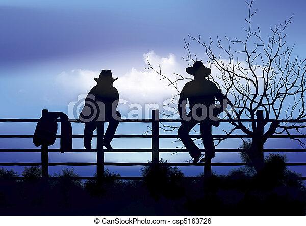 cowboys, deux, barrière, séance - csp5163726