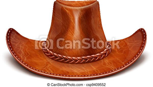 cowboy's leather hat stetson - csp9409552