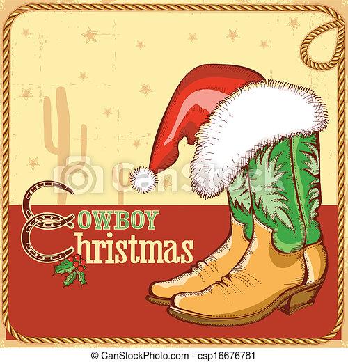 Amerikanische Weihnachtskarten.Cowboystiefel Amerikanische Nikolausmuetze Weihnachtskarte
