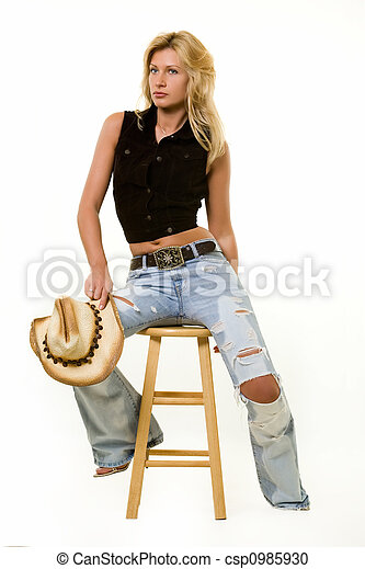 Cowgirl Attire Beautiful Blond Woman Wearing Straw Cowboy