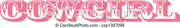 Cowgirl sign clip art graphic - csp1397099
