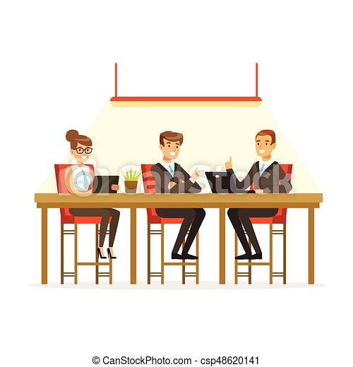 Coworking people exchanging ideas and experience at business meeting in office vector Illustration - csp48620141