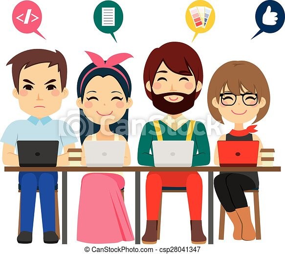 coworking, zentrieren, mannschaft - csp28041347