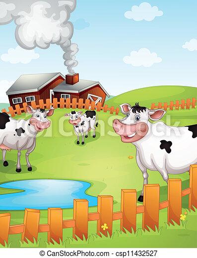 Cows Grazing In Farm