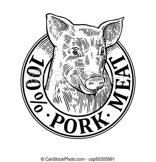 cows head 100 percent pork meat lettering vintage vector engraving