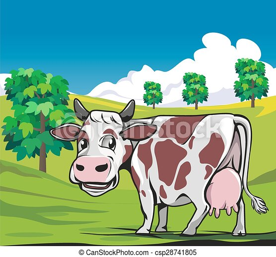 Cows in a meadow green background - csp28741805