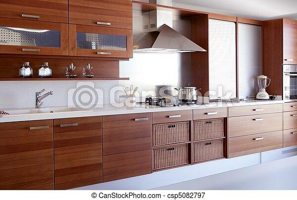cozinha, branca, madeira, vermelho, banco - csp5082797