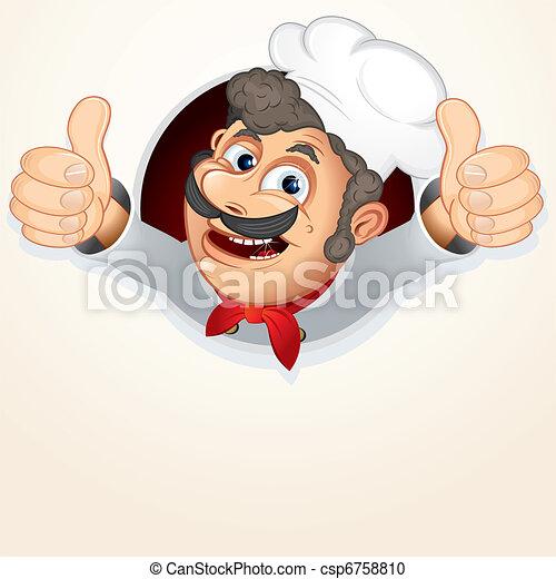 cozinheiro, cozinheiro, mostrando, polegar cima - csp6758810