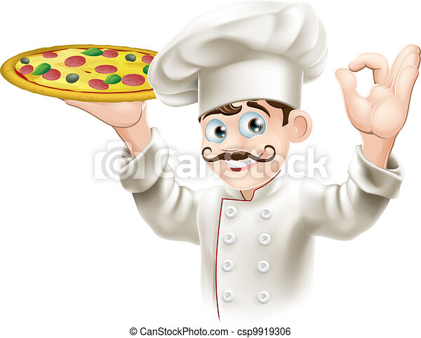 cozinheiro, gostoso, segurando pizza - csp9919306