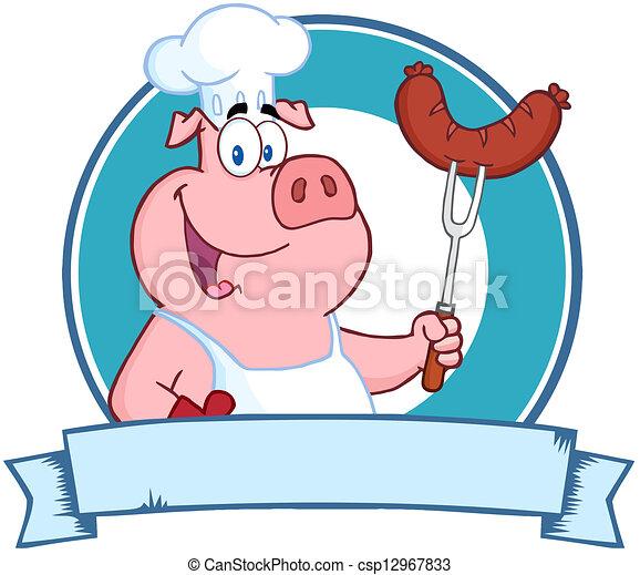 cozinheiro, linguiça, segurando, porca - csp12967833
