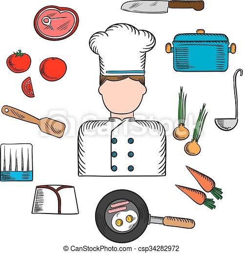 Cozinheiro material profiss o cozinha cones bife for Material para chef