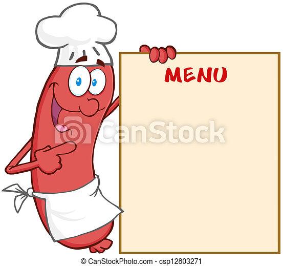 cozinheiro, menu, linguiça, mostrando - csp12803271