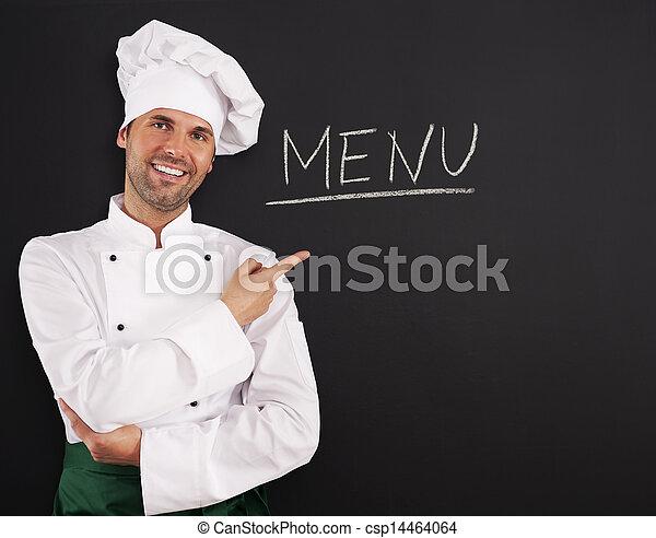 cozinheiro, menu, mostrando, bonito - csp14464064