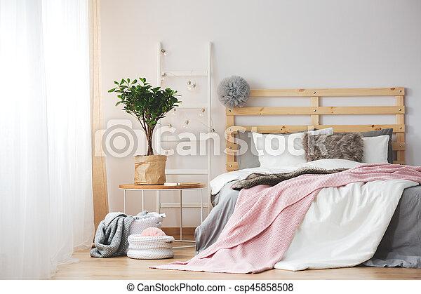 Cozy Bedroom Design Cozy Creative Bedroom Design With Plant Ad Grey And Pink Accessories Canstock
