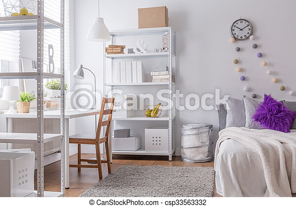 Cozy bedroom for young woman - csp33563332