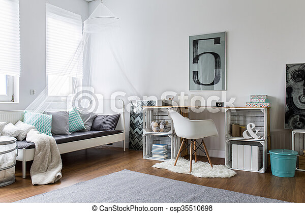 Cozy bedroom perfect for stylish hipster - csp35510698