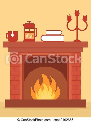 Cozy Fireplace On Room Cartoon Red Brick Fireplace On