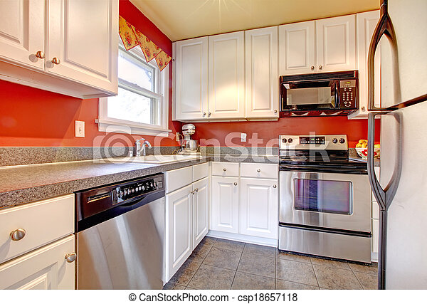 Cozy Kitchen Room With Red Wall And White Cabinets Small Concrete Tile Floor Walls Steel Appliances Canstock