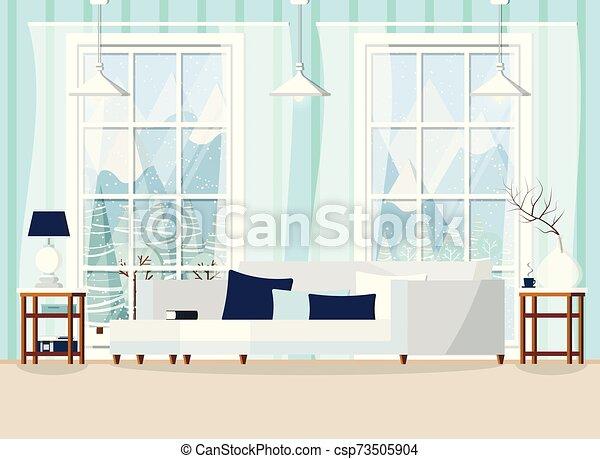 Cozy Living Room Home Interior Scene Vector Backdrop Illustration Cozy Living Room Home Interior Scene With Sofa Cushions