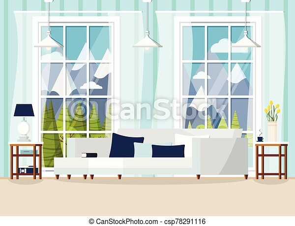 Cozy Living Room Home Interior Background With Window Cozy Living Room Home Interior Background With Sofa Lamp Two