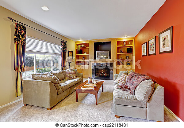 Cozy Living Room With Contrast Color Walls   Csp22118431