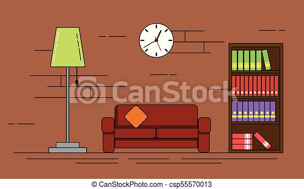 Cozy Living Room With Sofa Lamp And Bookshelf Design Flat Line Art