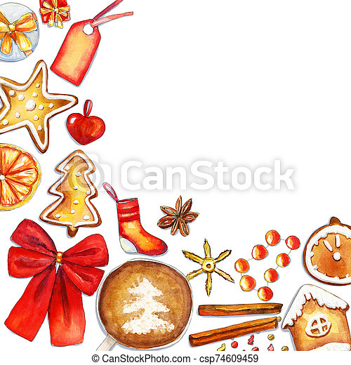 Cozy red and gold corner christmas composition with place for text - csp74609459