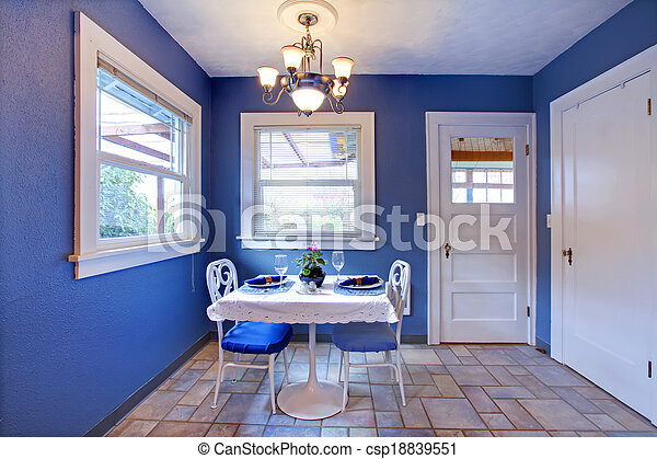 Cozy Royal And White Dining Area Small Dining Room With Tile Floor And Royal Walls Furnished With Small Dining Table Set
