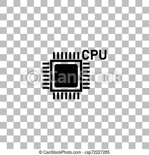 cpu icon flat cpu black flat icon on a transparent background pictogram for your project can stock photo