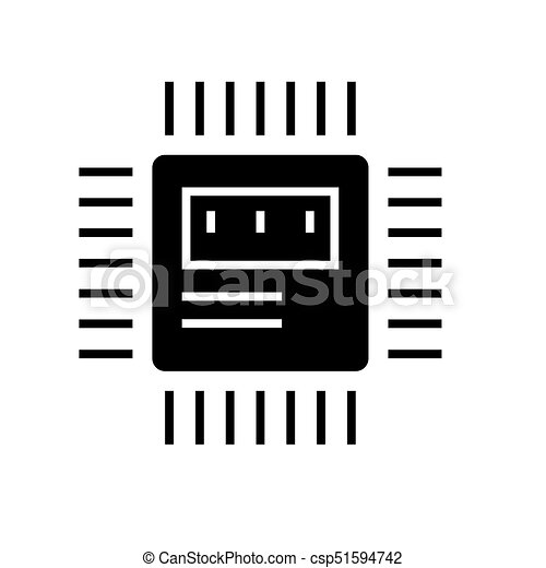 cpu icon, vector illustration, black sign on isolated background - csp51594742