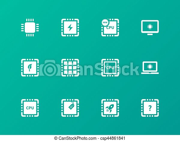 CPU icons on green background. - csp44861841