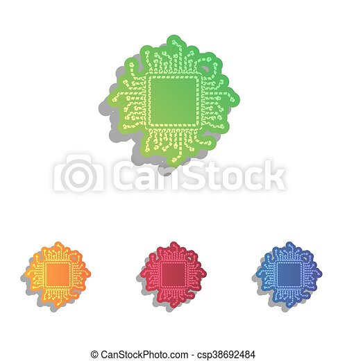 CPU Microprocessor illustration. Colorfull applique icons set. - csp38692484