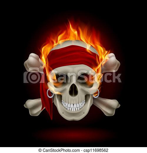 Calavera en llamas - csp11698562