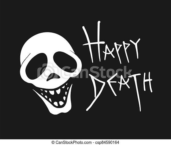 cráneo, mensaje, muerte, feliz - csp84590164