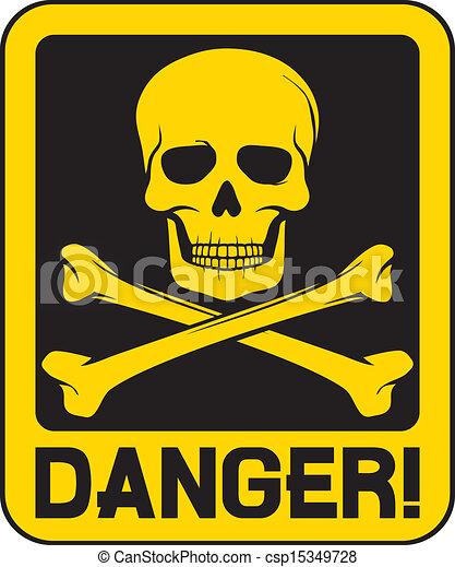 Signo de peligro craneal del vector - csp15349728