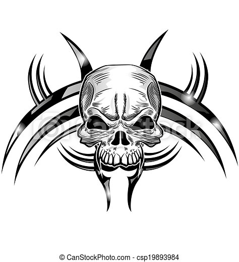 Diseño de tatuajes de cráneo - csp19893984