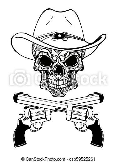 Un cráneo de vaquero con un sombrero occidental y un par de armas cruzadas - csp59525261