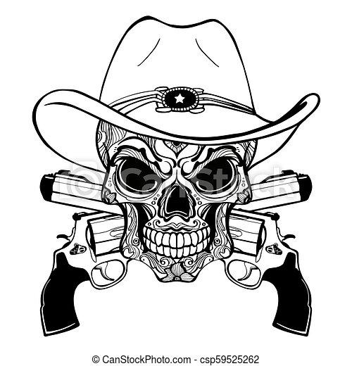 Un cráneo de vaquero con un sombrero occidental y un par de armas cruzadas - csp59525262