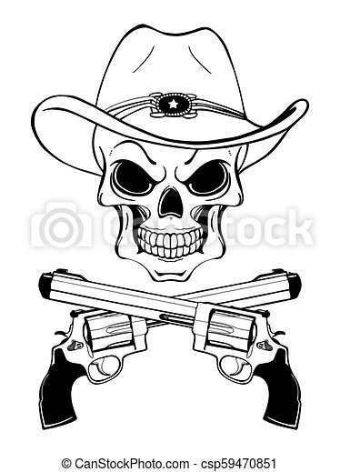 Un cráneo de vaquero con un sombrero occidental y un par de armas cruzadas - csp59470851