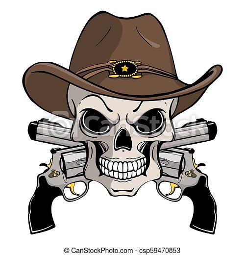 Un cráneo de vaquero con un sombrero occidental y un par de armas cruzadas - csp59470853