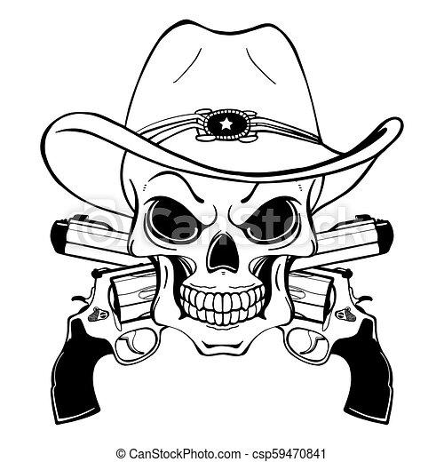 Un cráneo de vaquero con un sombrero occidental y un par de armas cruzadas - csp59470841