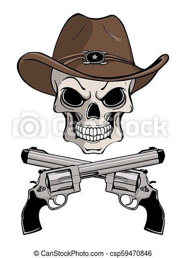 Un cráneo de vaquero con un sombrero occidental y un par de armas cruzadas - csp59470846