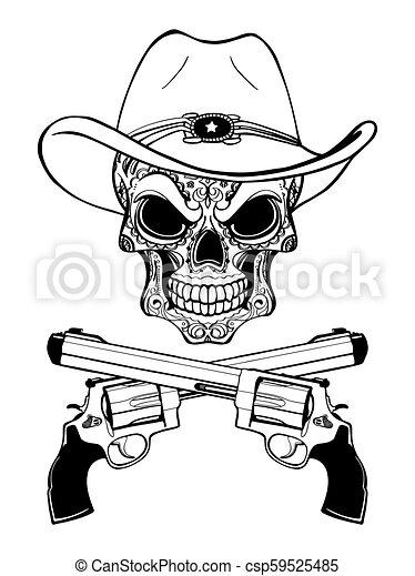 Un cráneo de vaquero con un sombrero occidental y un par de armas cruzadas - csp59525485