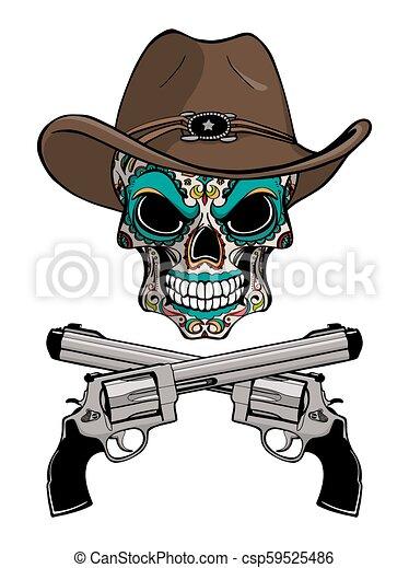Un cráneo de vaquero con un sombrero occidental y un par de armas cruzadas - csp59525486