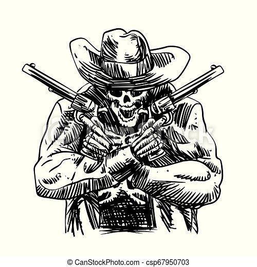 Un vaquero con sombrero occidental y un revólver cruzado - csp67950703